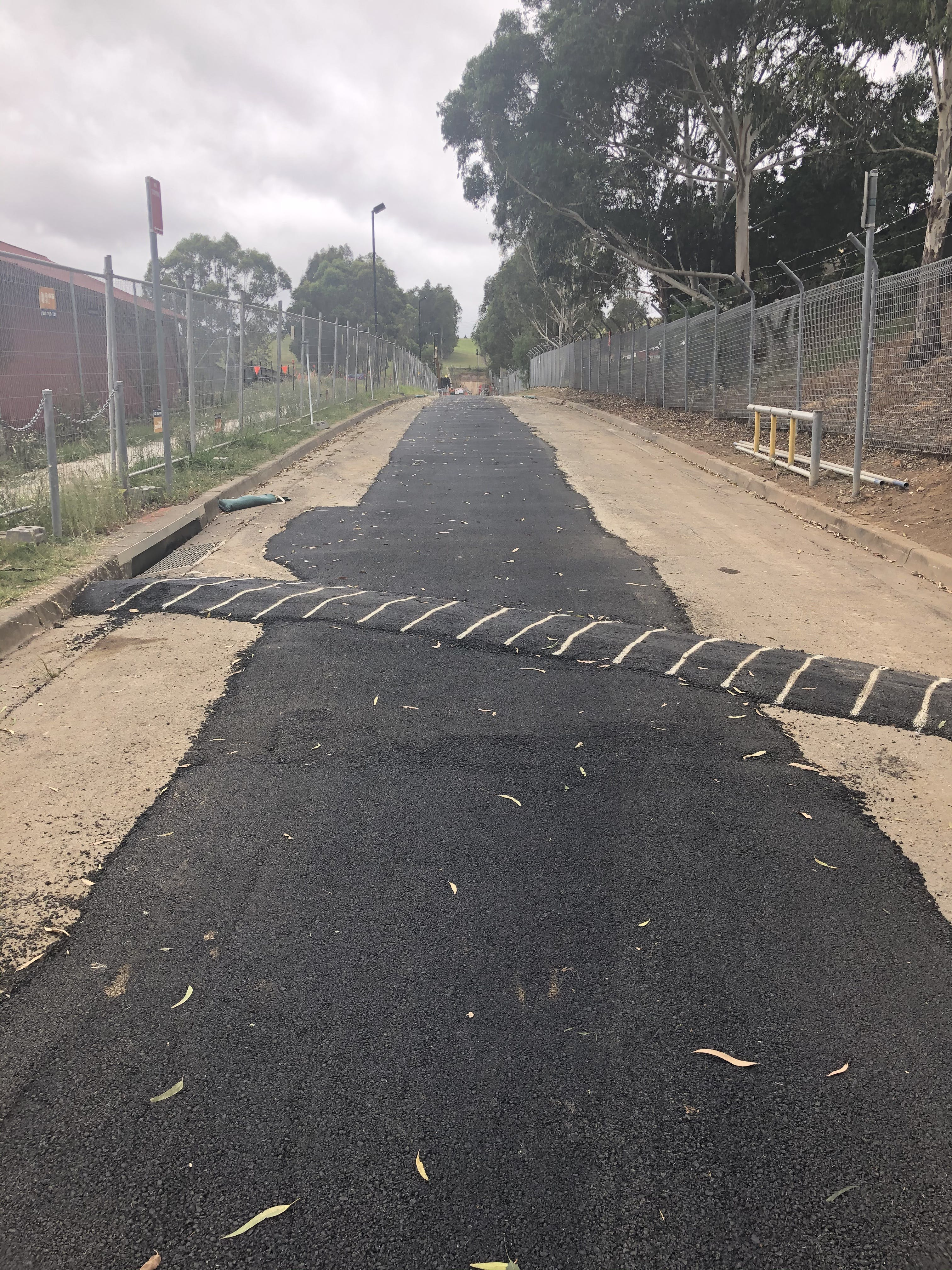 Cecil Hills - temporary repair of road following construction of pipeline on Prince Close