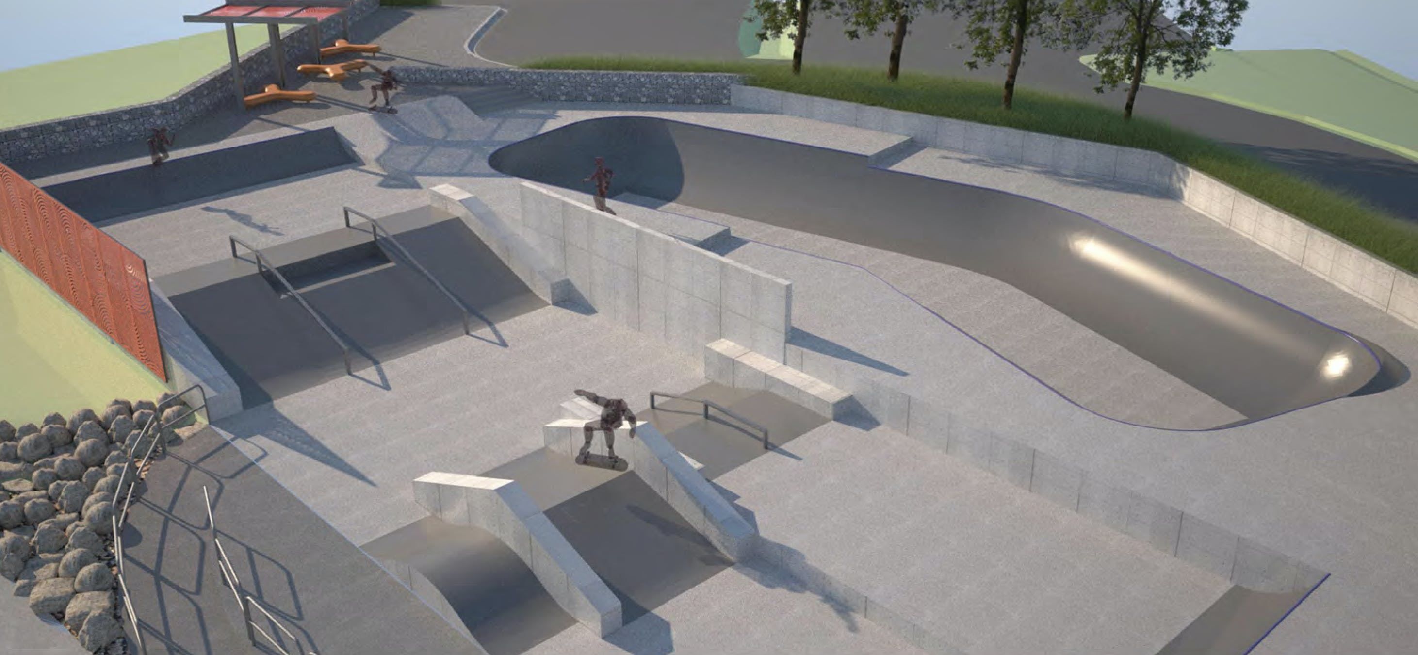 Proposed skate park perspective 2