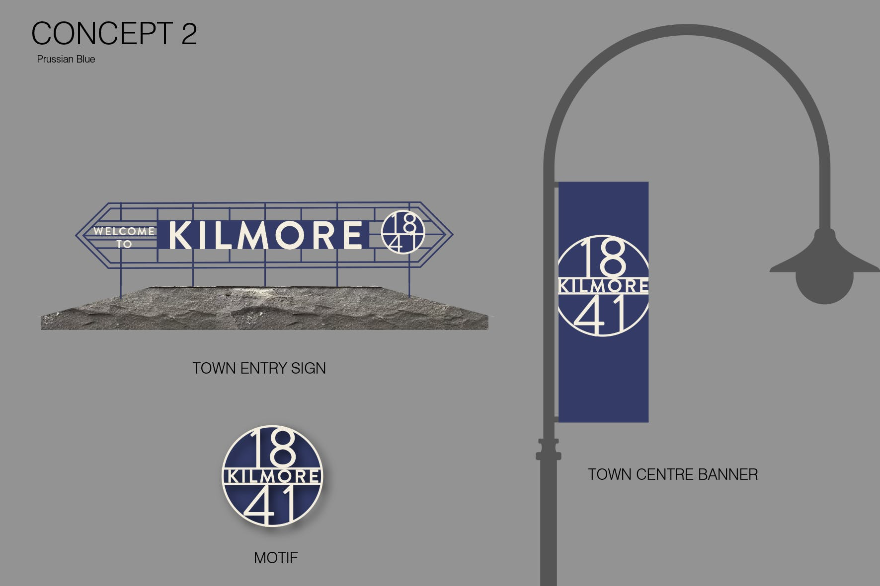 Town entry, motif and banner in blue