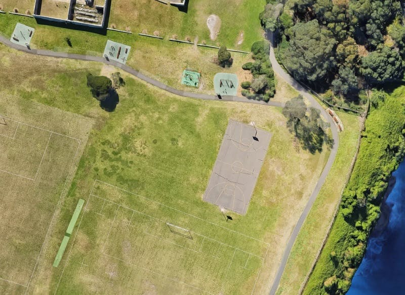 Previous basketball court at Christison Park - birds eye view
