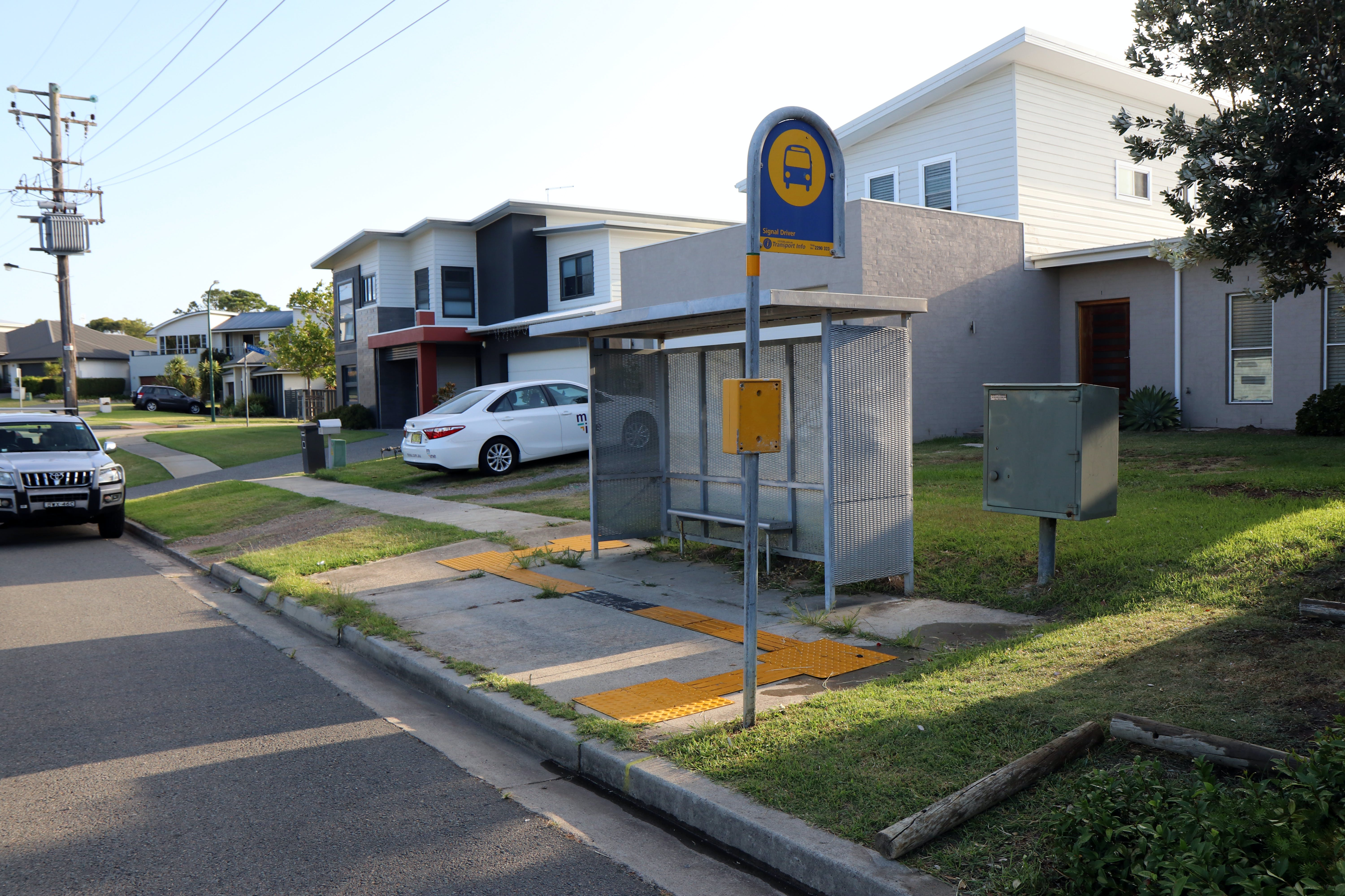 Current bus stop outside No.8 Ocean St