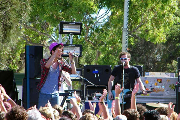 Band performing at a music festival