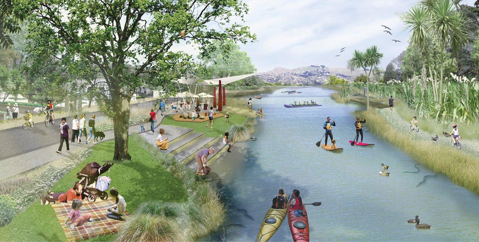 Artist impression of the Otakaro Avon River Corridor
