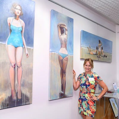 Sam Michelle with her 'Beautifully' artworks at the Civic Centre Art Space