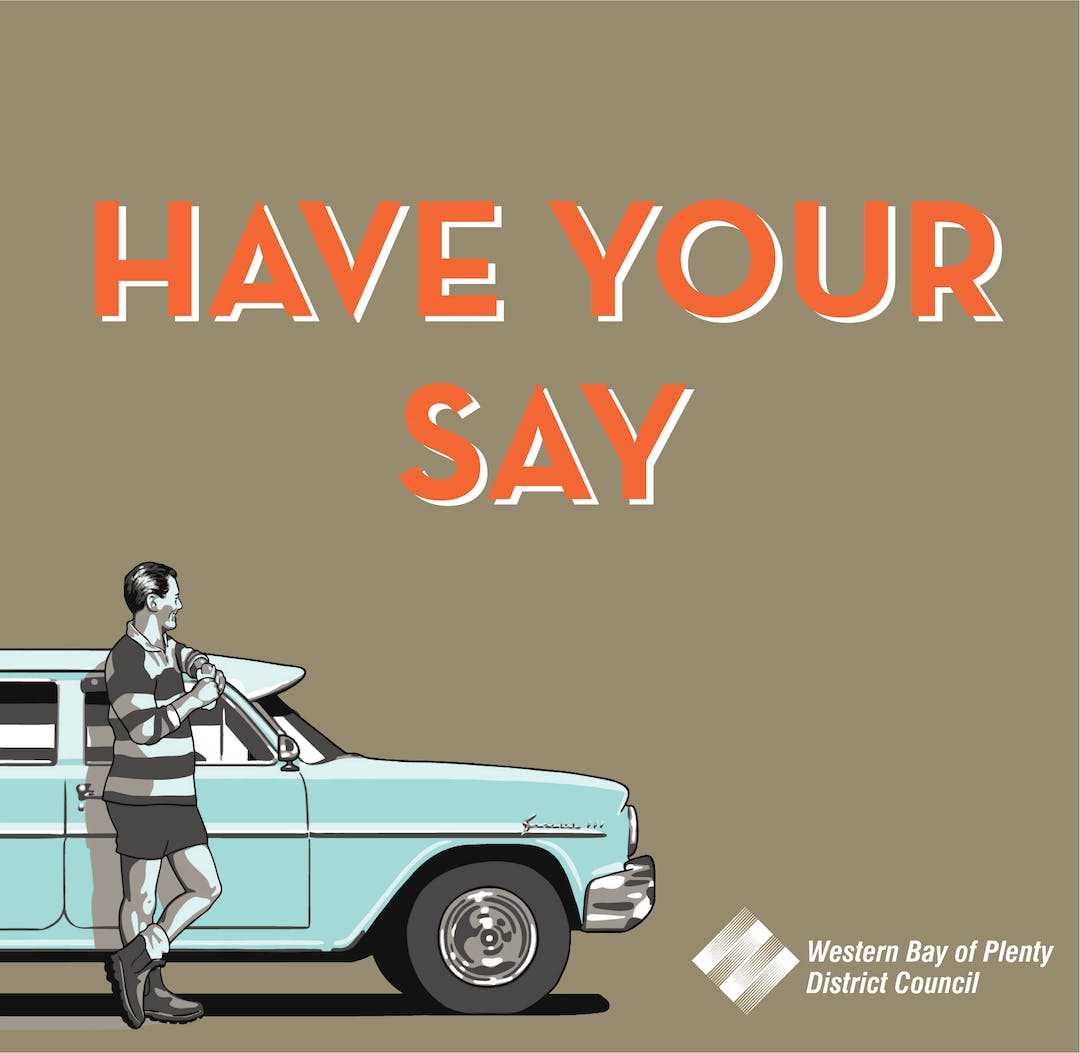 Council branding image for have your say site - man standing by car.