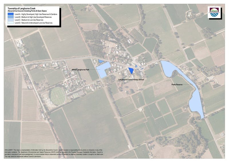 Map of parks-open space in Langhorne Creek