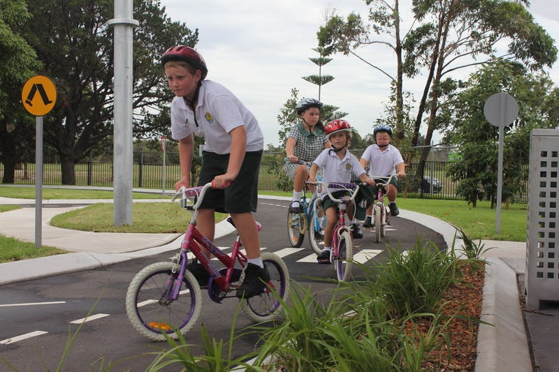 Chifley Public School kids testing out the new bike track
