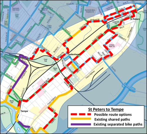 St Peters to Tempe bicycle route options