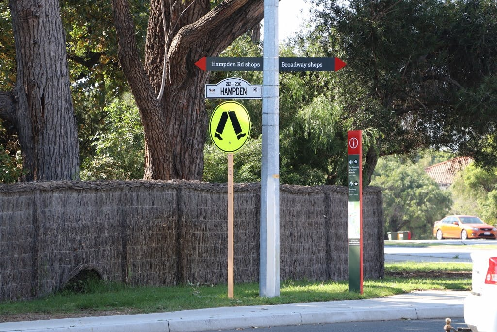 Hampden Road showing current kerbing