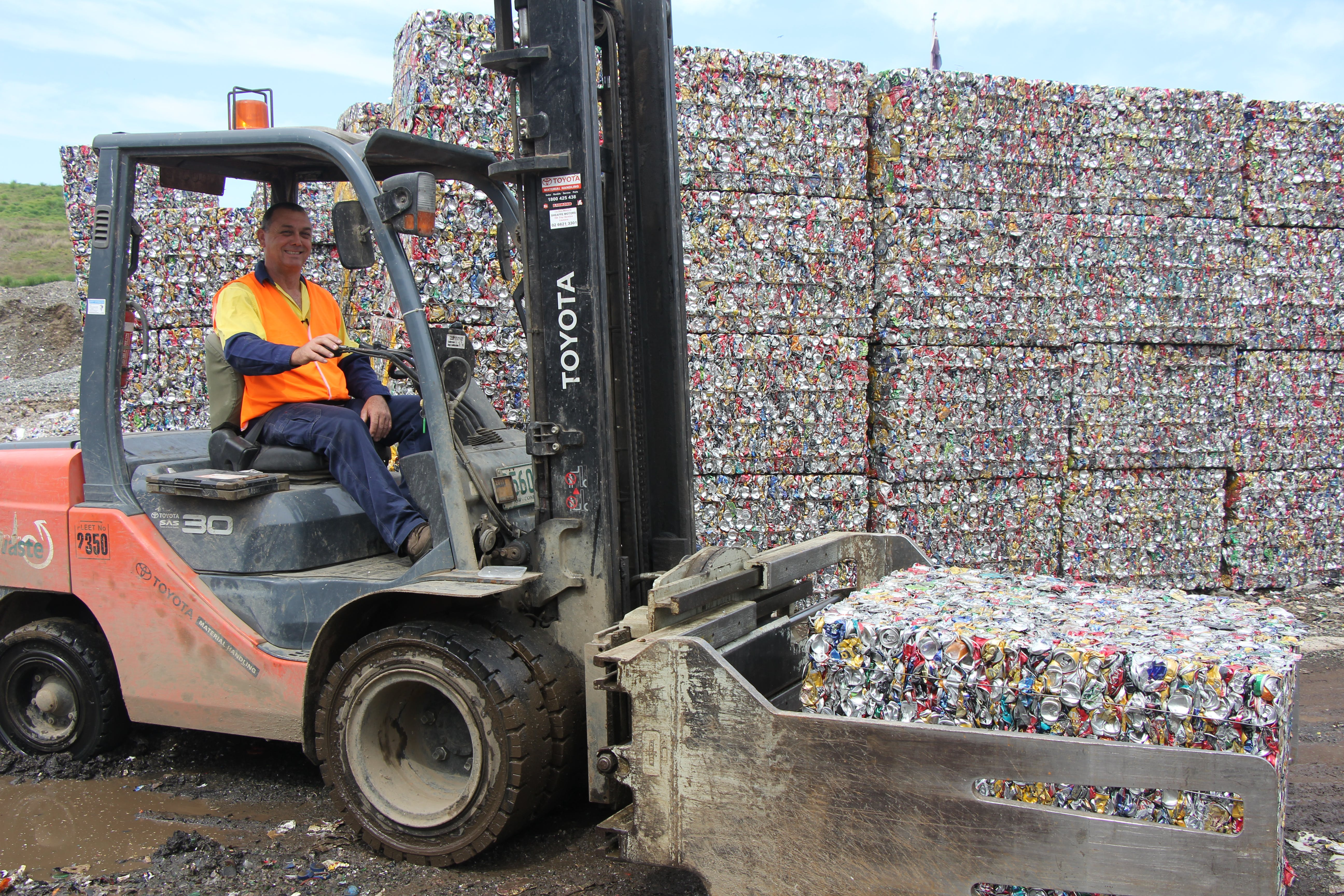Bales of recyclables ready for processing