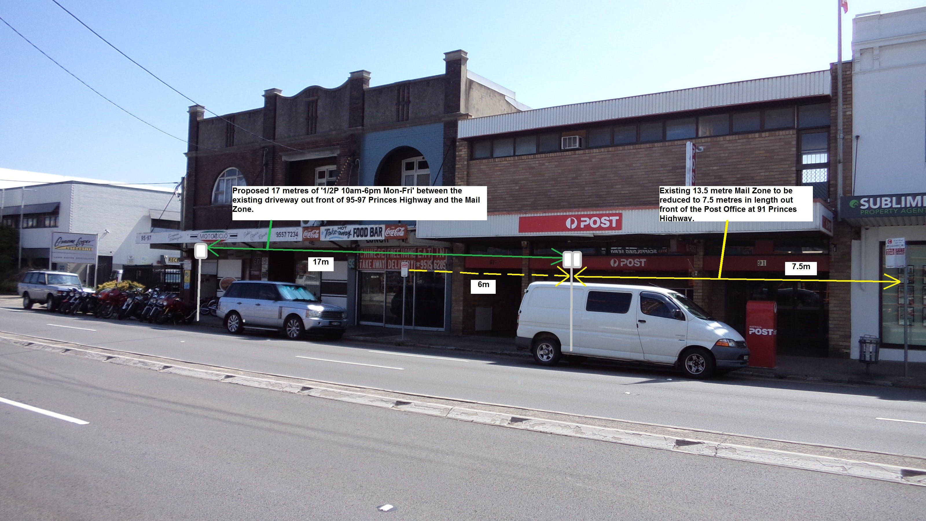 Diagram - Proposed changes to parking conditions at Princes Highway