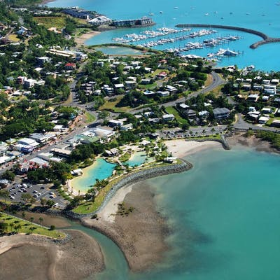 Aerial of Airlie Beach Lagoon