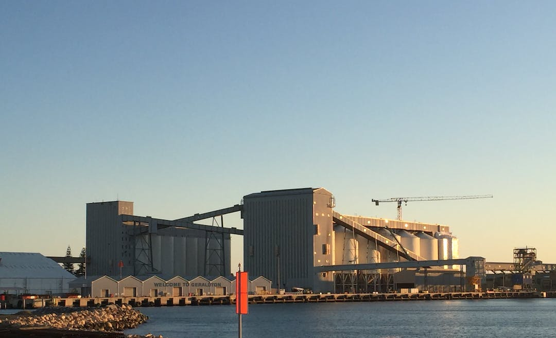 Image of a bulk handling facility at a port.