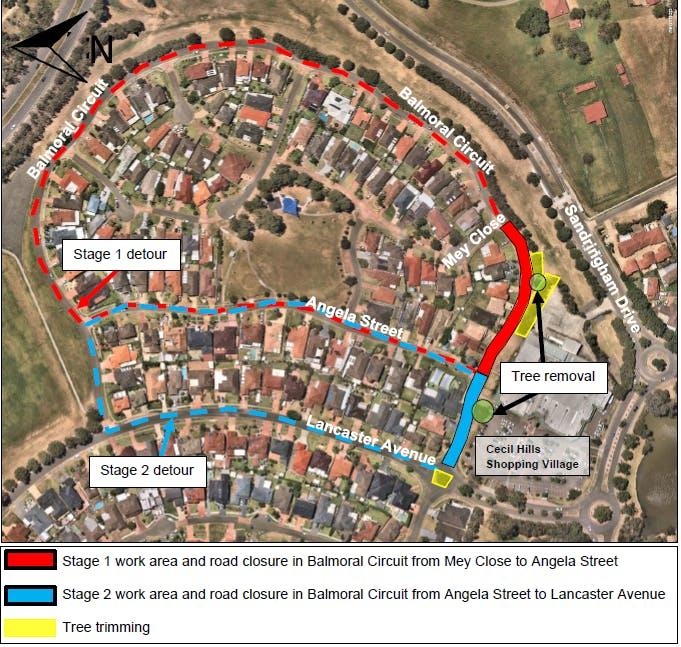 Cecil Hills - Road closures Balmoral Circuit