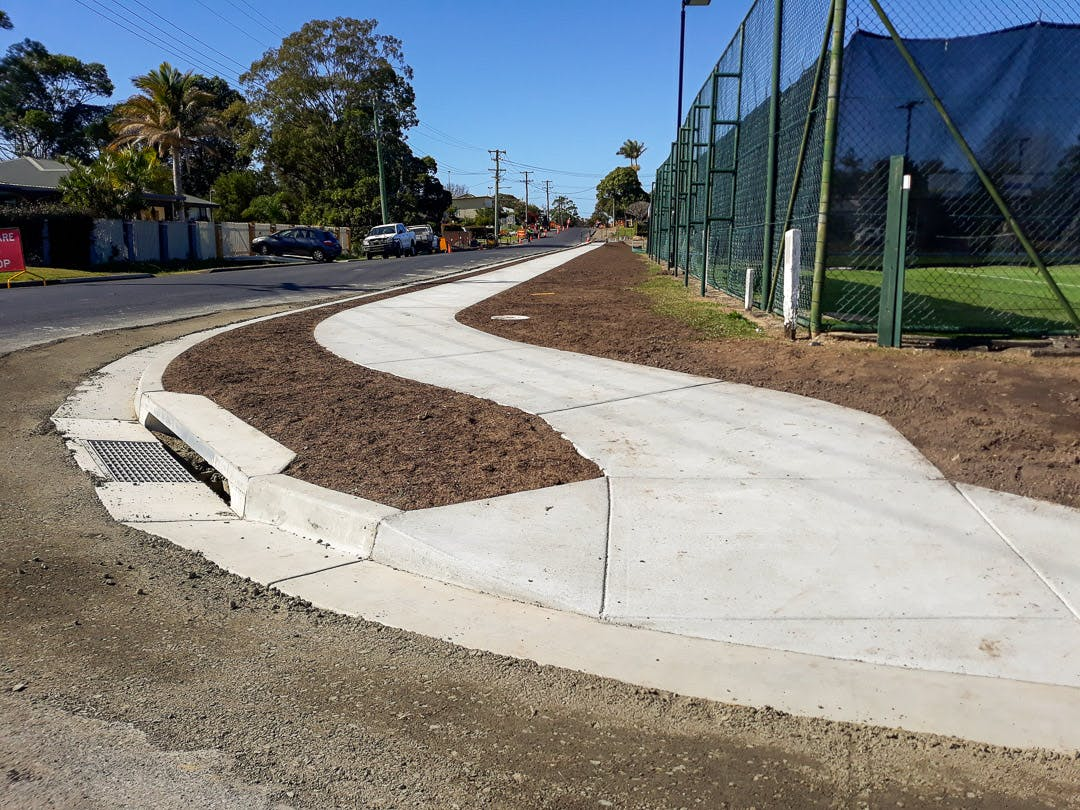 Completion of the pathway, kerb and gutter and drainage at the King Street/ William Street intersection, July 30.