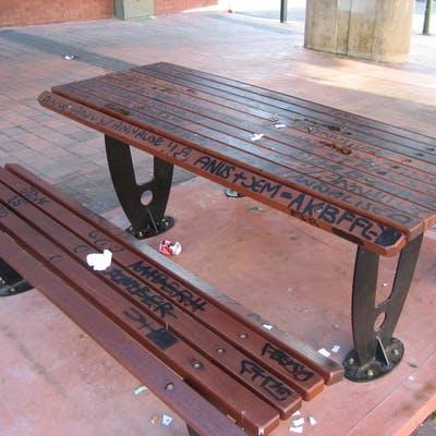 Graffiti - public seating Blaxland