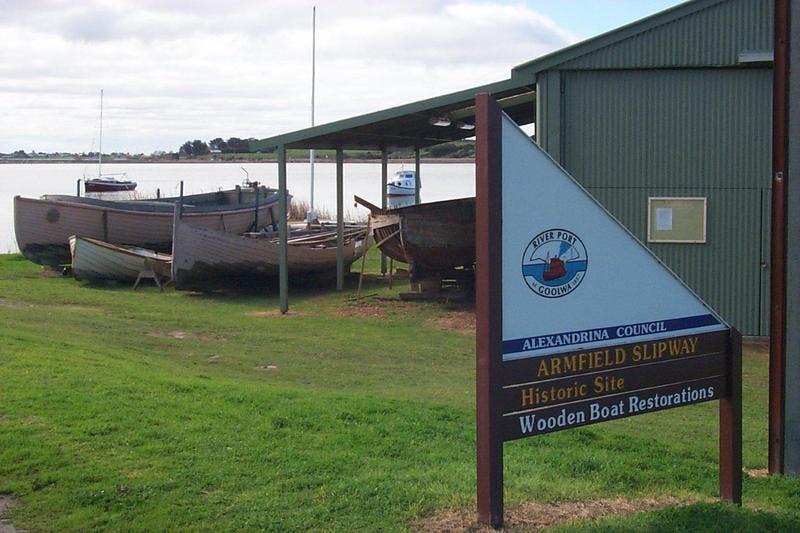 Alexandrina Council - Armfield Slip wooden boat heritage Goolwa