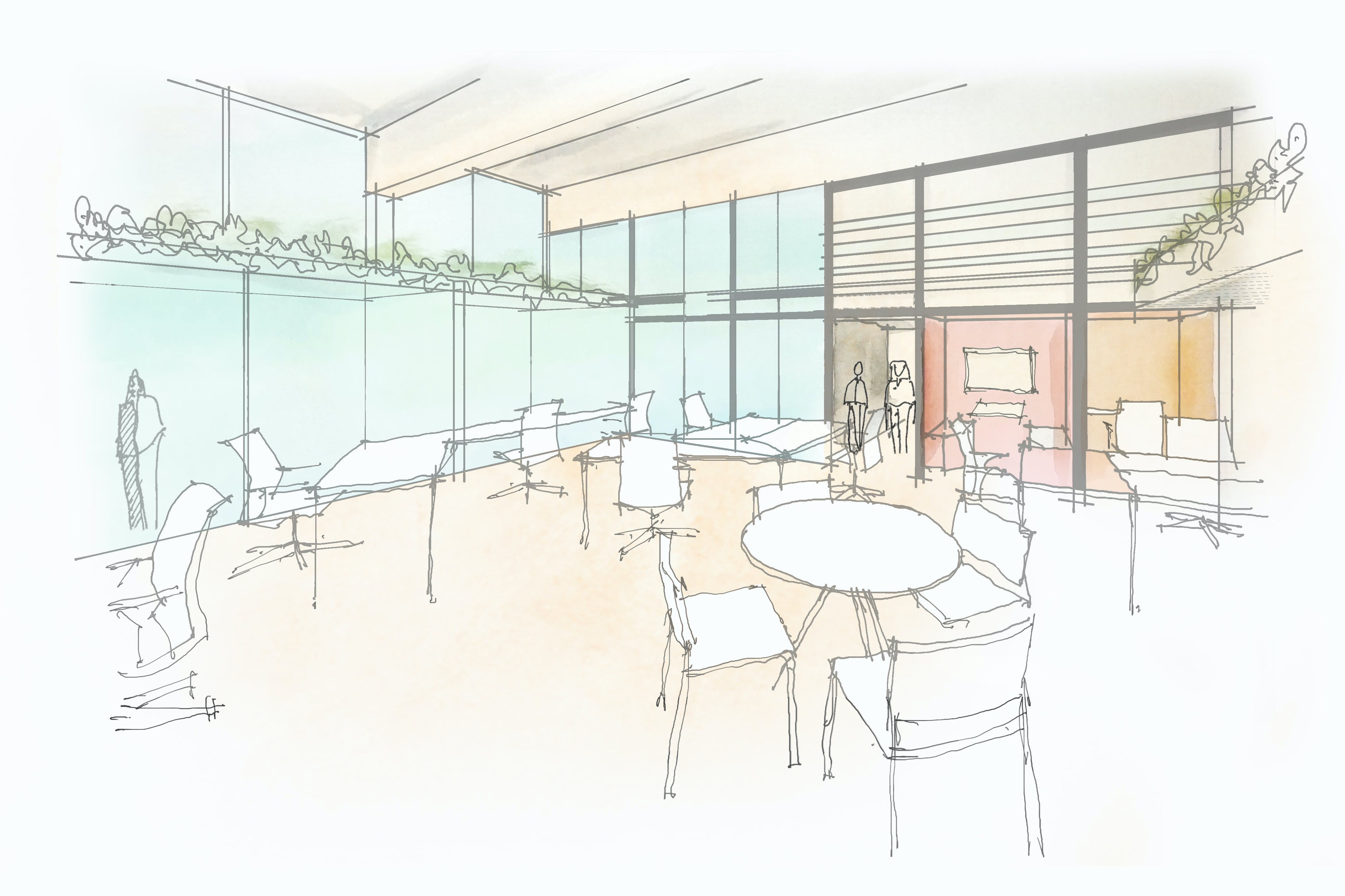 Artist's render of how the cowork space could look