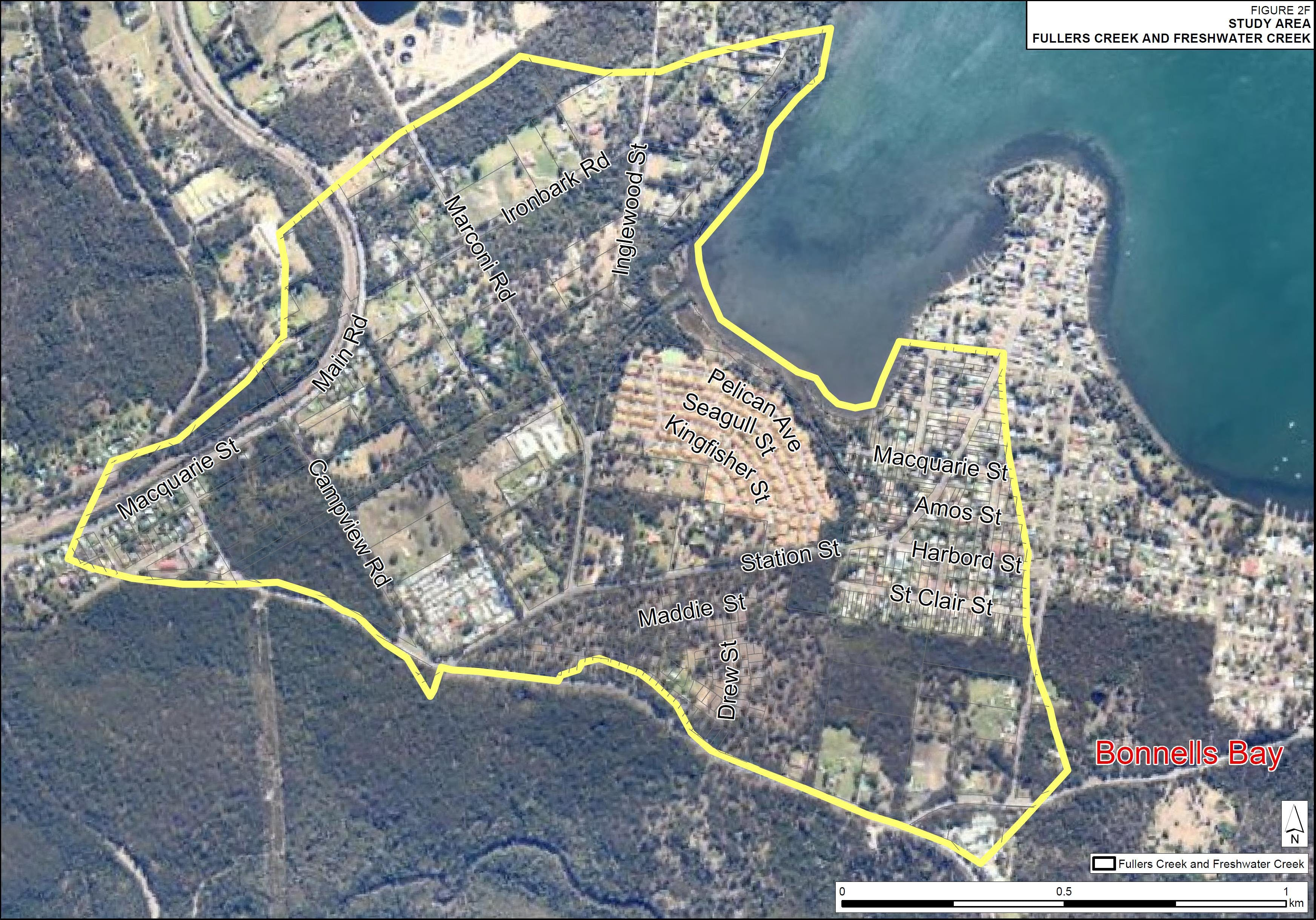 Fullers Creek and Freshwater Creek at Bonnells Bay  flood study catchment