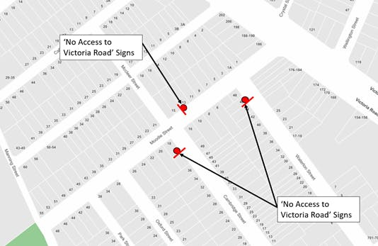 Map showing the location of three 'No Access to Victoria Road' signs on Cambridge Street, Moodie Street and Waterloo Street.