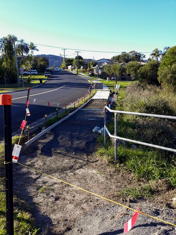 Footpath works on Gailer Drive, to link with footpaths on West High Street and King Street.