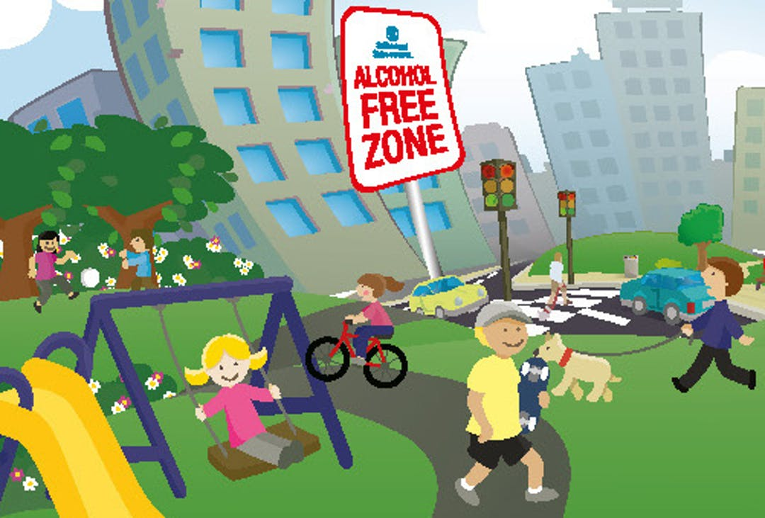 Alcohol Free Zones relate to roads, footpaths and public car parks.