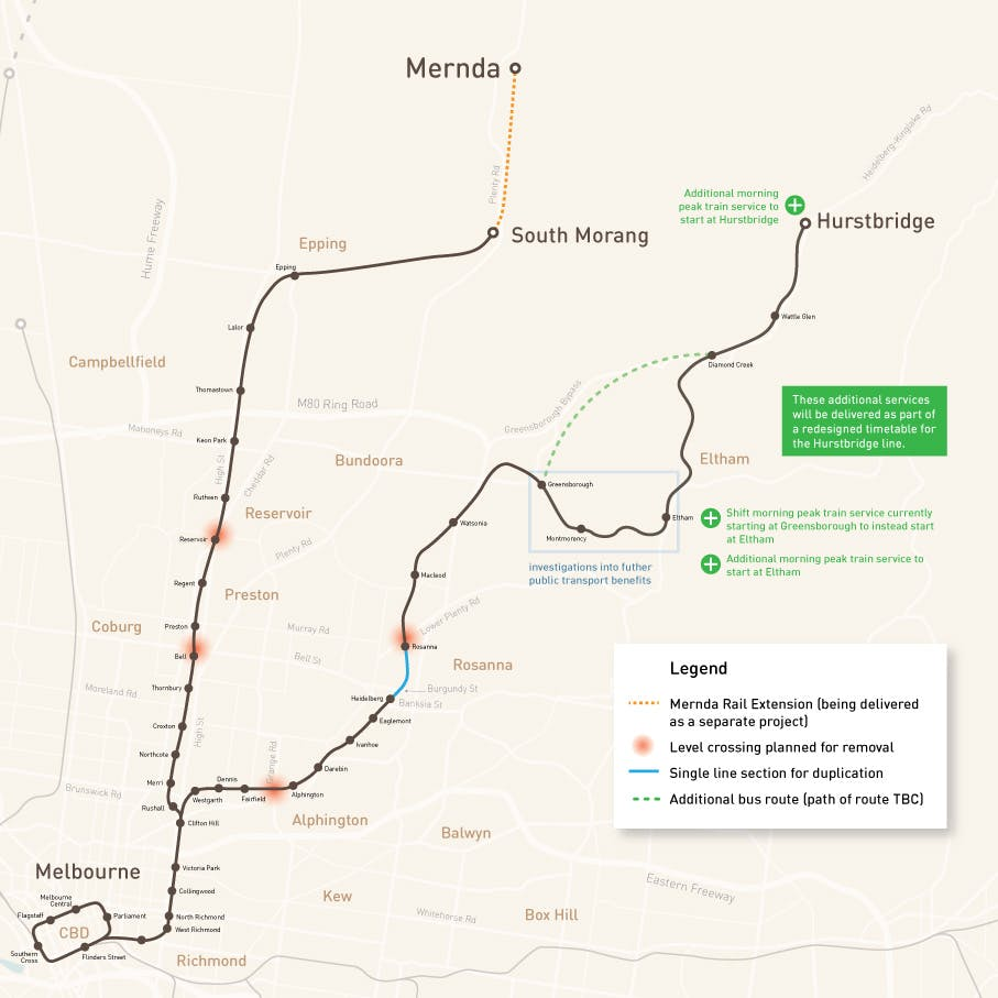 Map Mernda Hurstbridge Lines