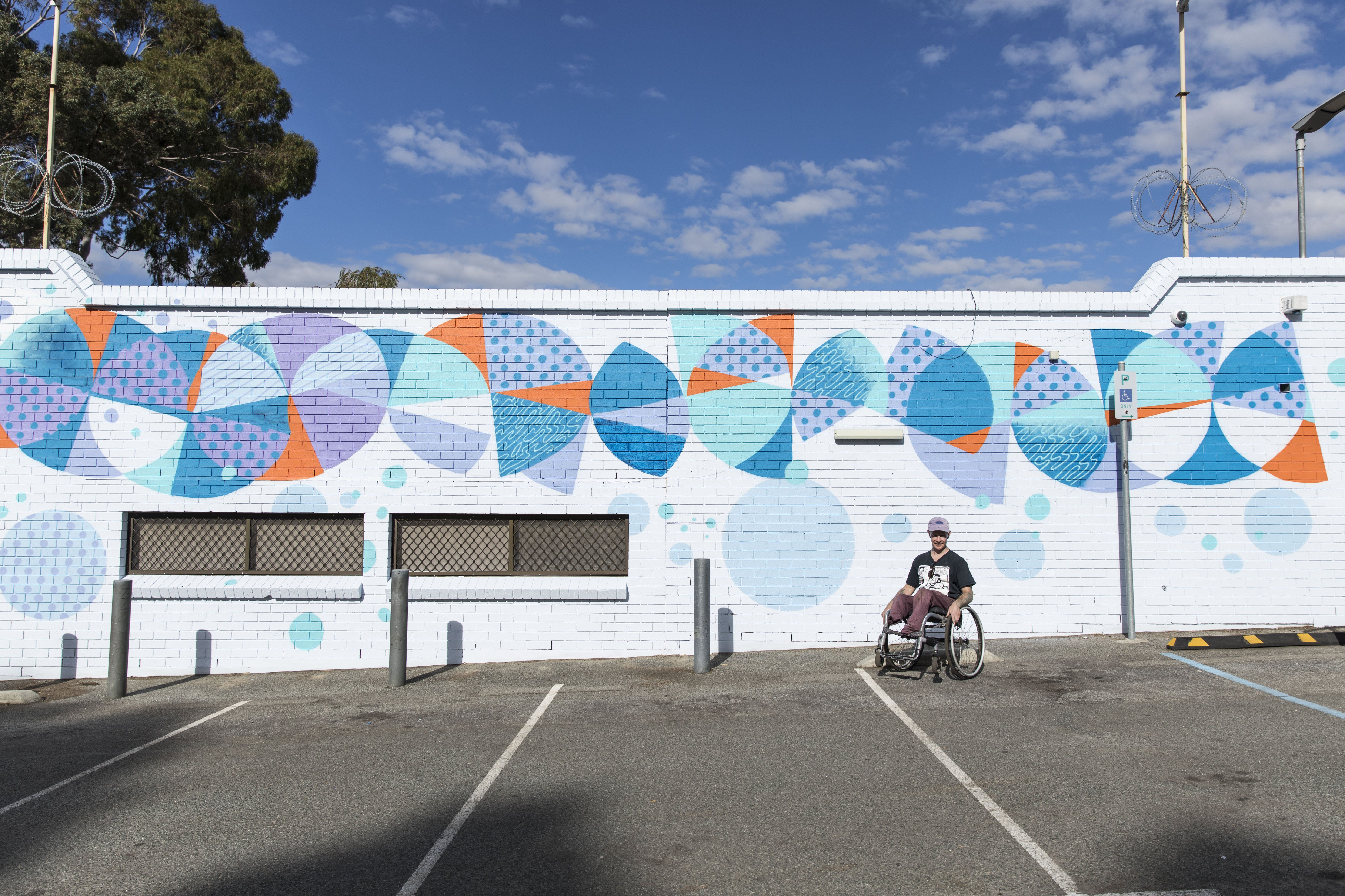 Bruno Booth in front of the Vic Park Community Centre for Arts Season 2019