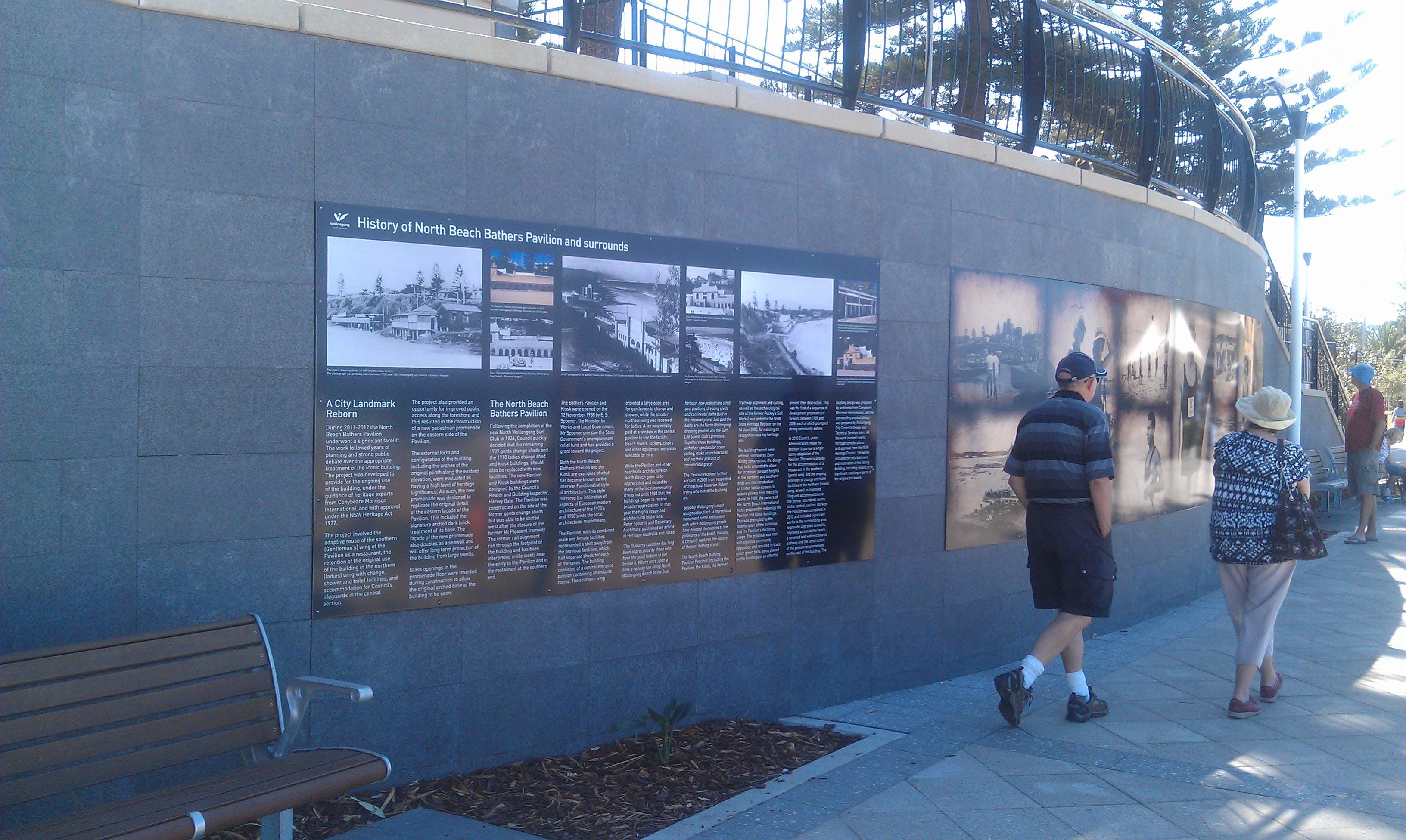 North Beach Bather's Pavilion interpretive signage
