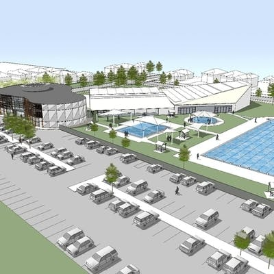 Birds-eye view of the upgraded Aquatic Centre