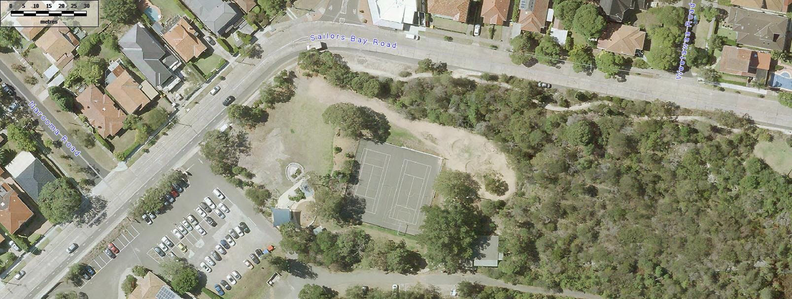 Aerial view of Bonds Corner sports courts