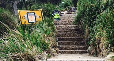 Marley Beach Stairs: recently constructed sandstone stairs at Marley Headland. Photo: K Weeks, OEH