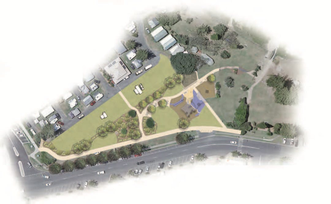 Map of Stage 1 works for Woolgoolga Beachside Reserve.