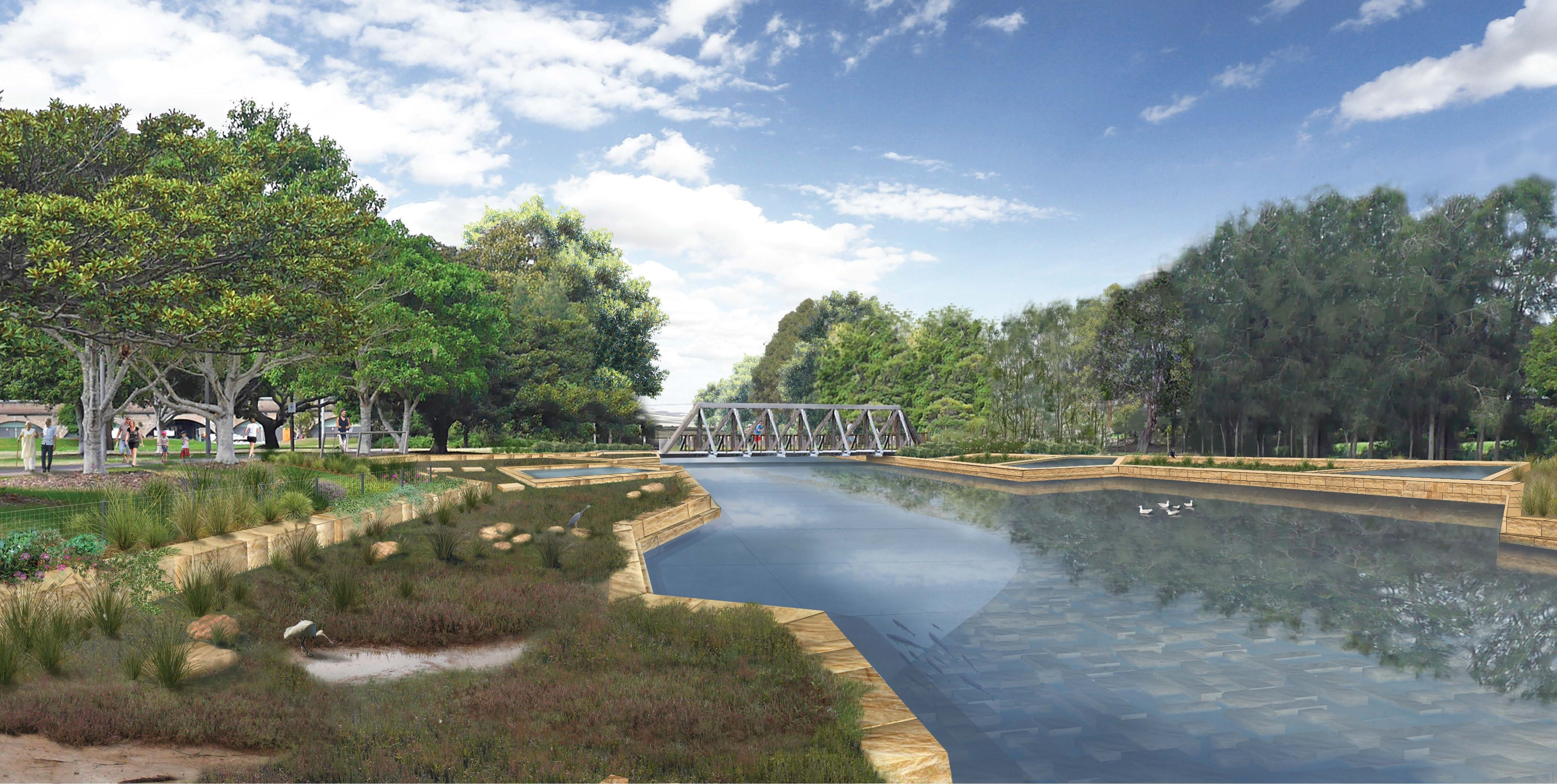 An artist's impression of Johnstons Creek after the naturalisaiton project.