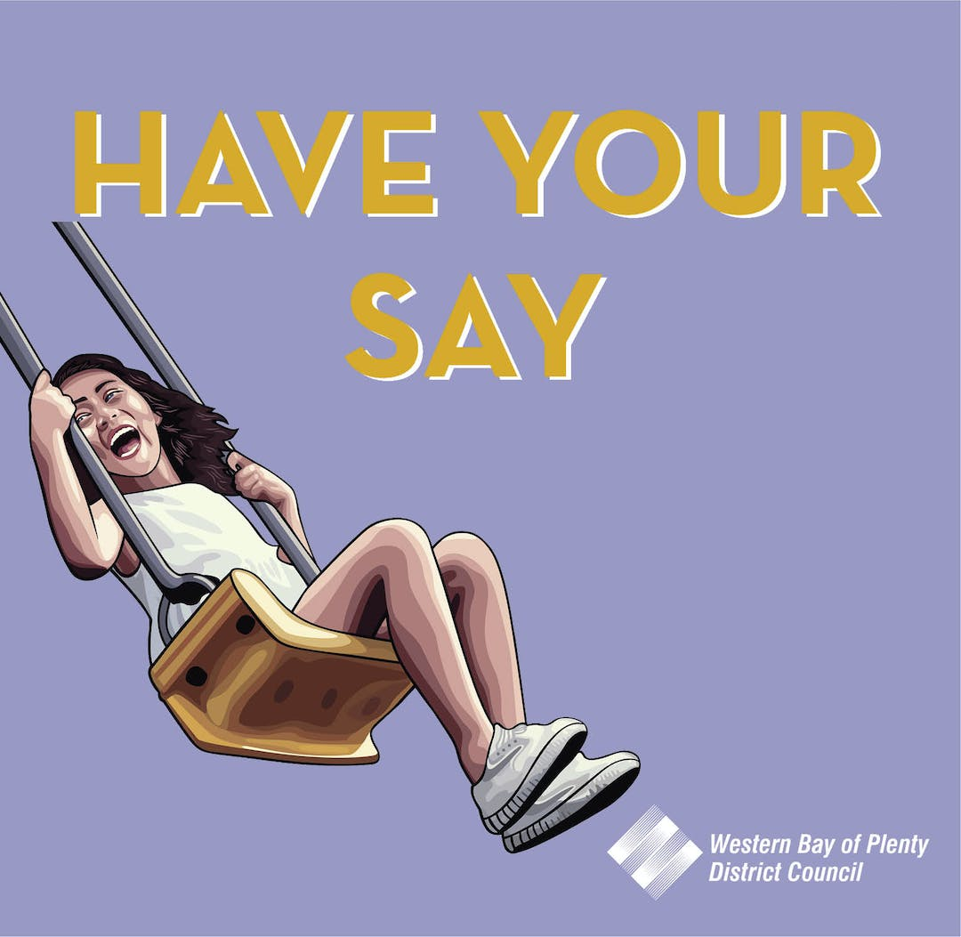 A little girl on a swing as part of Council's have your say icon.