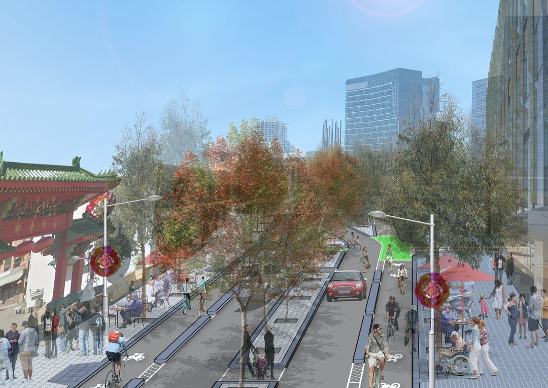 Artist Impression - View looking east on Roe Street at Chinatown
