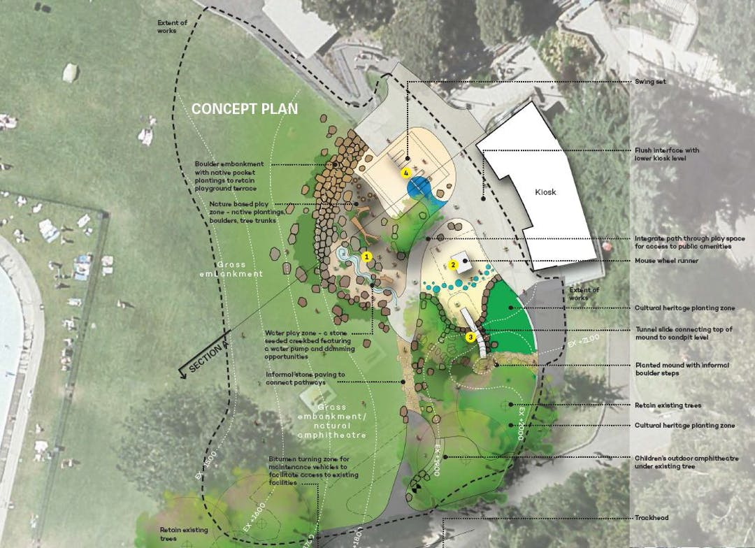 Plan of the new playspace in the Cataract Gorge.