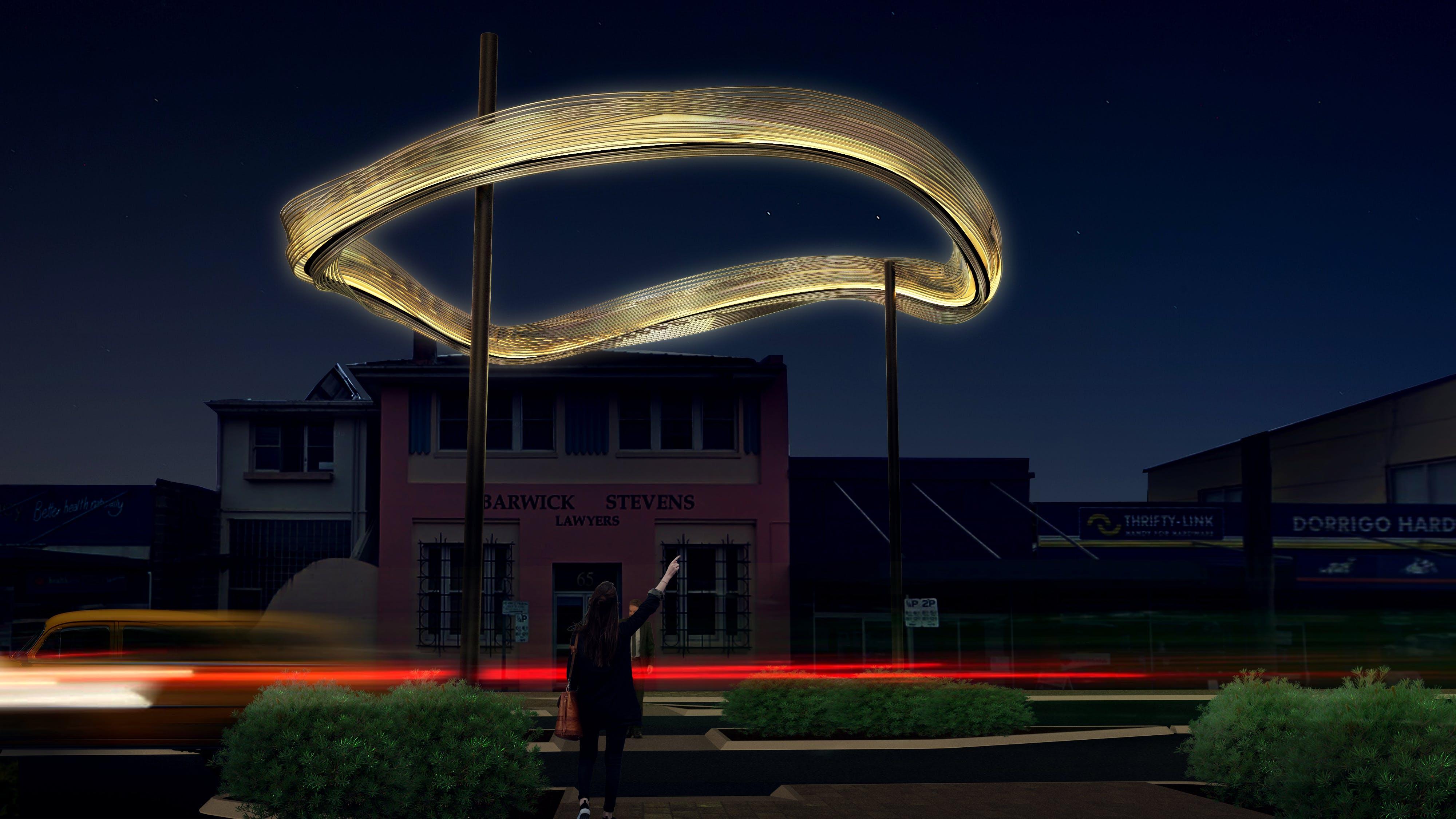 Proposed art work at night
