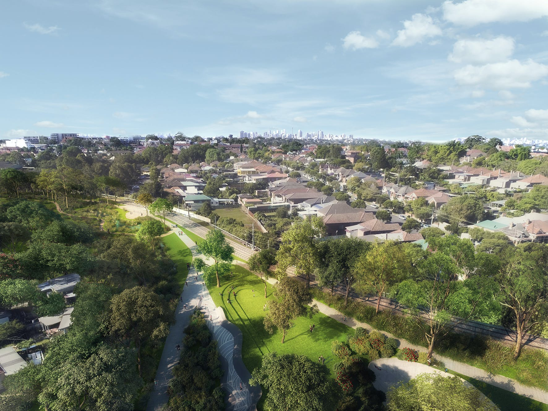 Artist Impression Of New Public Open Space In The Light Rail Corridor Near Hercules Street In Dulwich Hill  Mid