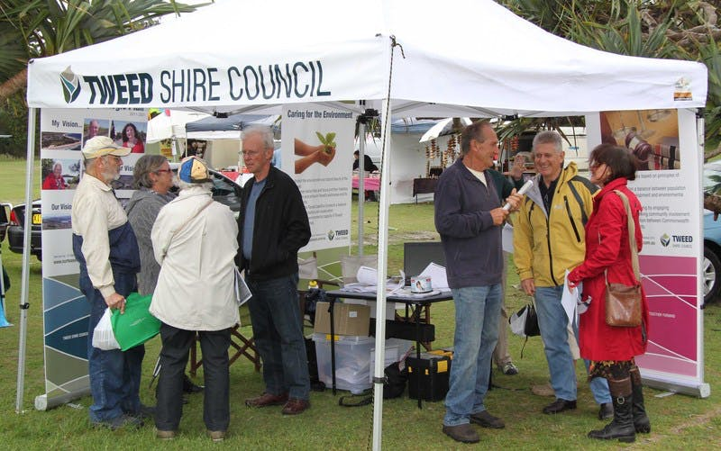 Council staff and elected members weathered very wet conditions to promote the Tweed Community Strategic Plan at the Kingscliff markets