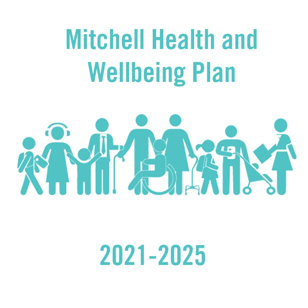 Icons representing various ages and abilities with words health and wellbeing plan