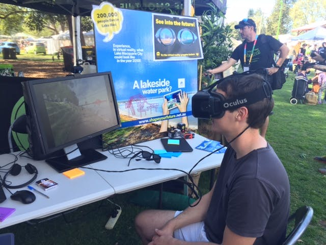 Trying out the virtual reality goggles at Living Smart Festival