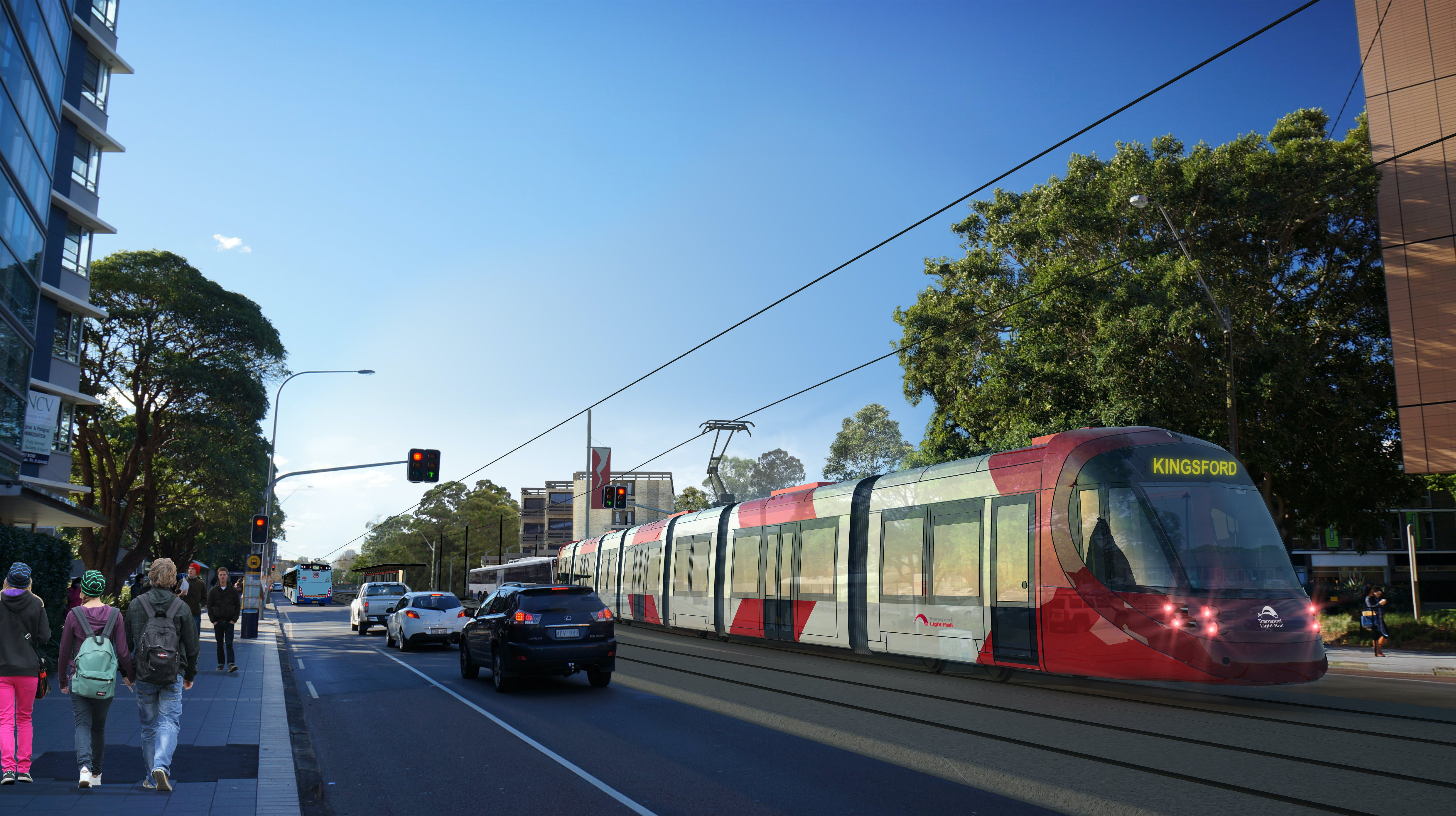Artist impression: Light rail on Anzac Parade (Source: Transport for NSW)