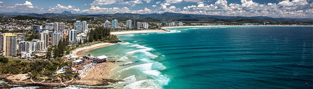 Aerial shot of the Coolangatta and Kirra coastline