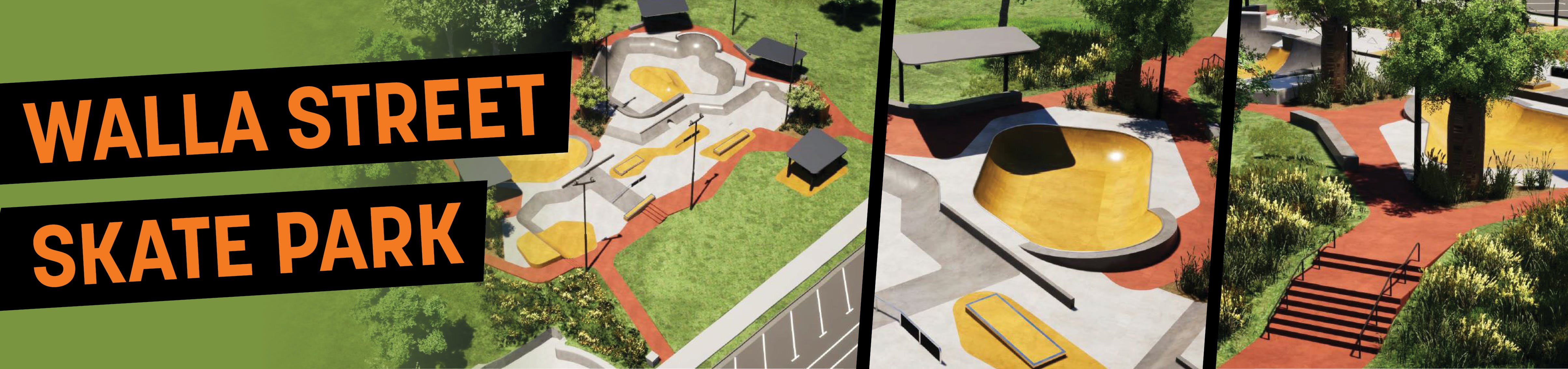 An artist's impression of the new Walla Street Skate Park at Central Park, Bundaberg
