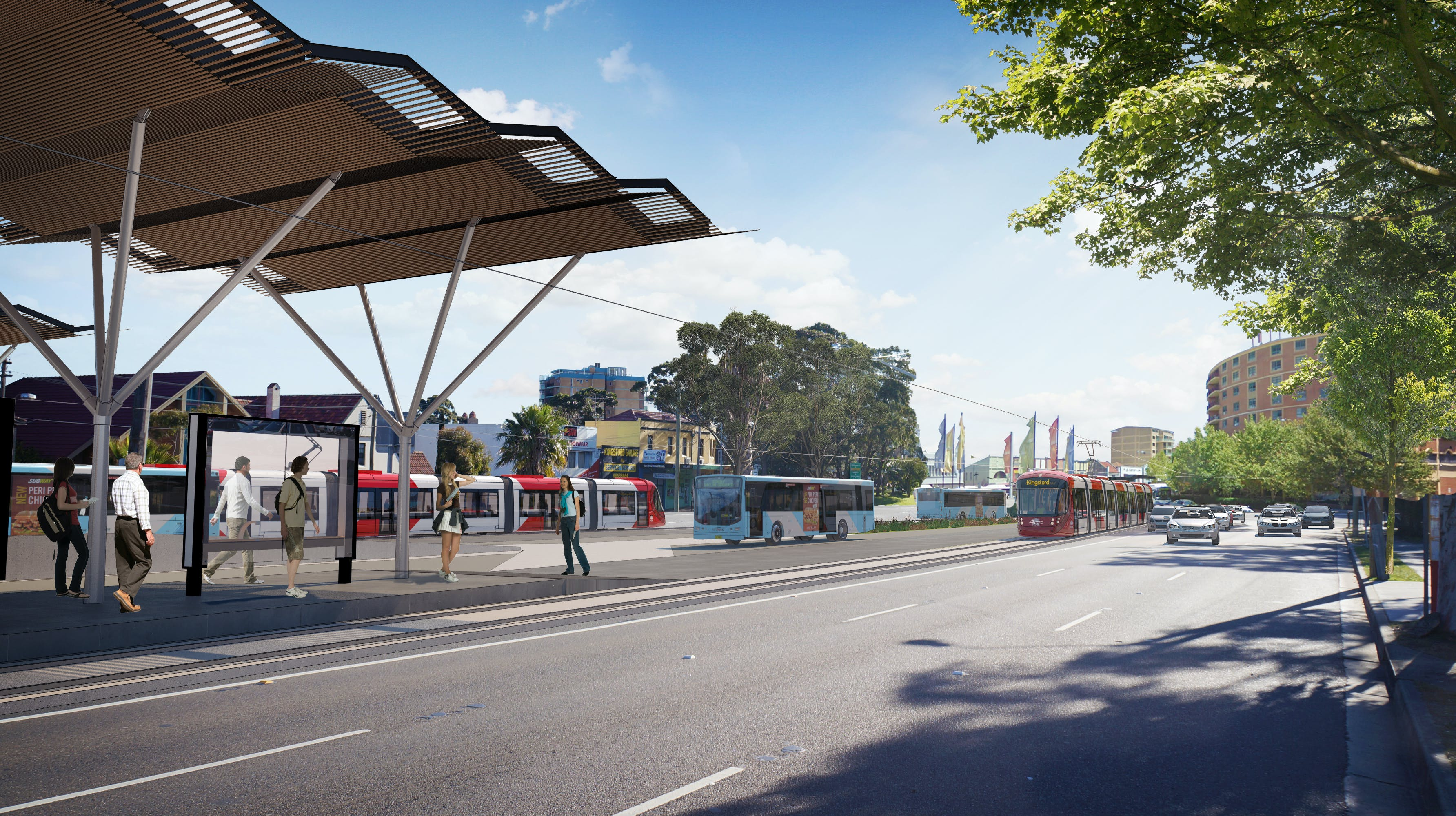 Artist impression: Light rail at Kingsford (Source: Transport for NSW)