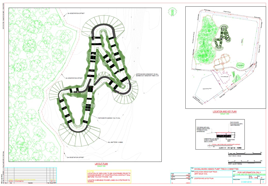 Small colour Image of the plan for the Proposed BMX Pump Track at Jerry Bailey Oval in Shoalhaven Heads