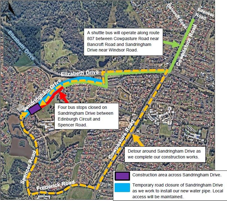 Cecil Hills - Sandringham Drive Road Closure Map