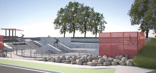 Proposed skate park, perspective 1