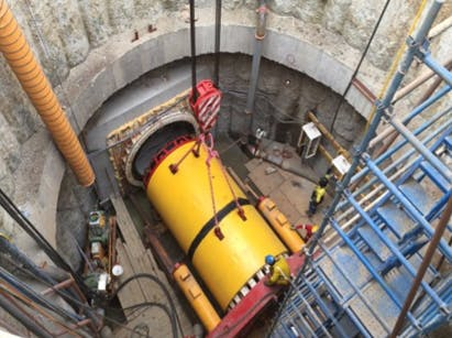Launch shaft and jacking of tunnelling machine